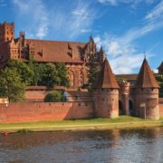 View of Malbork across river Nogat